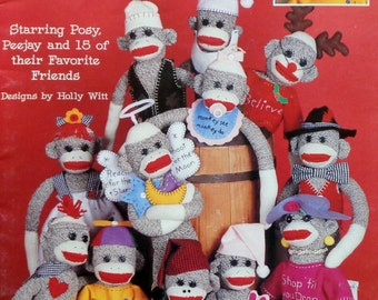Holly Witt The RETURN Of The SOCK MONKEY Posy Peejay - Sewing Pattern Template Instruction Booklet By Leisure Arts