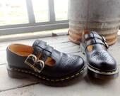 1990s Dr Martens Unworn! Leather chunky MARYJANES waffle SHOES heels round toe USa Size 5 // UK 3