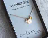 Flower Girl Gift Personalized Necklace Gift for Girls Flower Girl Jewelry Initial Necklace Bridal Party Gift Flower Necklace Rose Gold