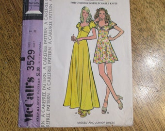 """1970's BOHO Empire Knit Dress w/ Angel Sleeves - Maxi or Mini Length - Size 7 (Bust 31"""") - VINTAGE Sewing Pattern McCalls 3529"""