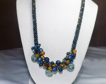 Blue and Yellow Kumihimo Necklace - with Crystals, handmade glass beads, and top drilled round beads in blues and yellows