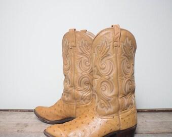 10.5 EE | Men's J. Chisholm Tan Ostrich Western Cowboy Boots