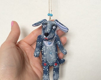 "Textile Funny Necklace ""Dream Dog"" soft toy dog with moving eyes"
