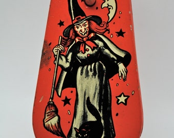 Vintage Halloween Noisemaker Collectible Witch Cat Owl Moon Ratchet Wood Handle US Metal Toy Mfg. Lithograph Free Shipping!