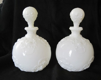Antique Dithridge & Co. Milk Glass Barber Bottles - Boudoir /Vanity Toilet Water Decanters