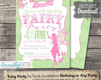 Fairy Pink & Green Invitation - INSTANT DOWNLOAD - Editable, Printable Birthday Party Invitation by Sassaby Parties