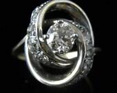 Old European Cut Diamonds White Gold Ring Estate Vintage Antique Engagement