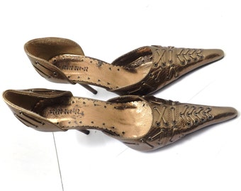 Vintage high heel shoes, size 8.5 Trend design Bronze color, woman's  ladies pumps