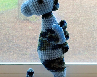 Seahorse Doll - Crochet Seahorse in Light Blue with Blue-Green Variegated