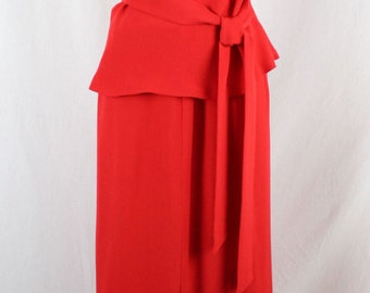 Vintage LOUIS FERAUD EVENING One Shoulder Belted Top and Matching Long Skirt with Opening Size 40
