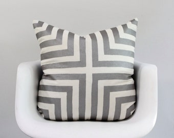 Doha pillow cover in metallic pewter on off-white organic cotton-hemp 24x24