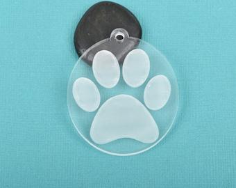 25 Clear PAW PRINT Acrylic keychain blanks, Dog Cat Paw OVAL Etched Blanks, Laser Cut clear key chain blank, choose size, Lca0452b