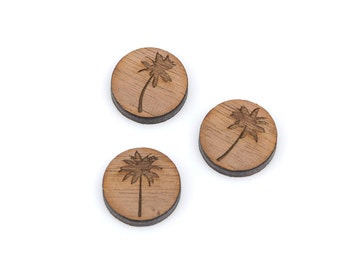 6 PALM TREES Collection, Laser Cut Supplies, Laser Engraved Wood, Earring Gauge Plugs, Sustainable Wood Supplies, lcw0003
