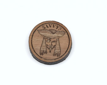Set of 6, PIRATE, Laser Cut Supplies, Laser Engraved Wood, Earring Gauge Plug, Sustainable Wood Supplies, lcw0022
