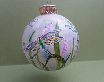 Hand Painted Glass Dragonfly Ornament