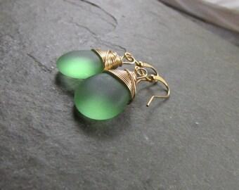 Green seaglass earrings, gold wire wrap Boho gemstone earrings, simple elegant drop dangle earrings