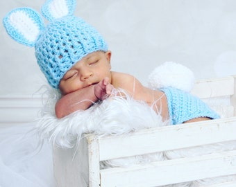 Newborn Bunny Hat, Newborn Diaper Cover, Bunny Hat And Diaper Cover Set, Big Fluffy Tail, Newborn Photo Prop, Easter Prop, Newborn Boy Hat