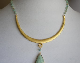 Make A Statement! Amazonite & Gold Necklace
