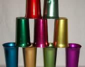 9 BASCAL COLOR CRAFT MultiColored Aluminum Mid-Century Tumblers