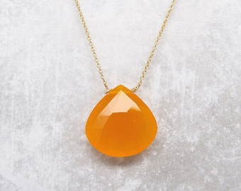 Orange Chalcedony Gemstone Necklace - Gemstone Necklace - Chalcedony Necklace