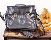 Vintage Black Attache' Case Tote Laptop Bag Unisex Briefcase Business Portfolio Tote Mens Messenger Valentines Day Gift
