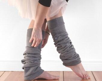 leg warmers, yoga socks, ballet wear, dark grey cotton cuffed legwarmers, dancer gift, gifts for her