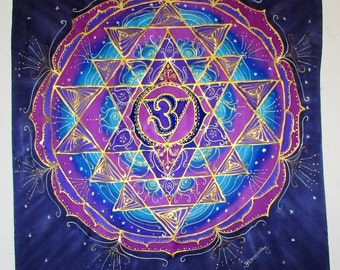 mandala art, Sri Yantra silk wallhanging,  chakra art, third eye art, reiki art, yoga art, hand painted silk, meditation art, spiritual art