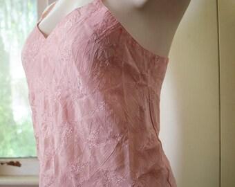 Pastel Pink Camisole Slip Top 1980s Crop Top