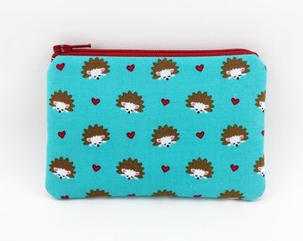 Hedgehog Coin Purse, Zipper Pouch, Mini Wallet, Gift idea, Card Pouch, Change Purse, Padded, Turquoise