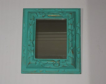 Farmhouse Chic Gilded Carved Wood Framed Mirror in Sea Glass Green