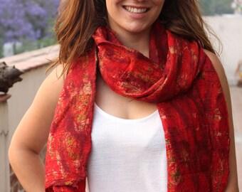 19 Recycled Silk Felt Scarf-Stunning Red Beach Shawl Wrap