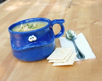 MILO the Muddybuddy - a friendly cobalt blue ceramic soup mug for your soup, coffee, tea, or hot cocoa