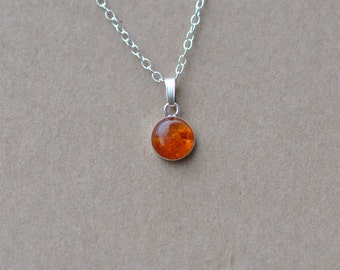 Amber Pendant handmade with Sterling Silver Chain, 8 mm Gemstones and fine silver necklace, natural, dainty silver jewelry, orange, gifts