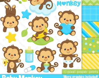 Baby Monkey - Clipart and Digital paper set - Monkey clip art