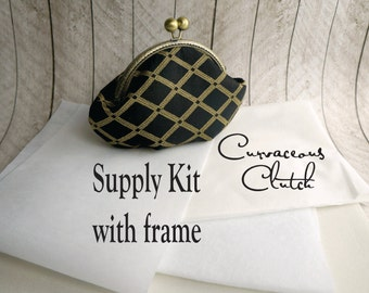Curvaceous Clutch kit, interfacing WITH FRAME kit, frame clutch purse kit, diy, make your own clutch, DIY bridesmaid gift