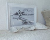 SEAMAIDEN AND CHILD  Framed Print Mermaid Seawashed Living Nordic Coastal Sea Cottage Beach Home Vintage Seaside Quiet Living