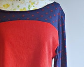 Heart Sweatshirt   Crop Top   Cropped Sweatshirt   Red and Blue Top   Color Blocked   French Terry