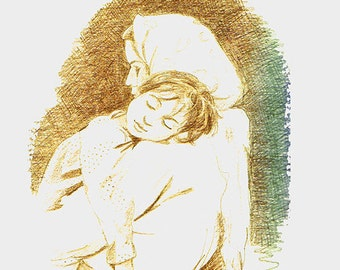 mother and child sketch pencil drawing madonna rustic drawing original drawing prints available and greeting cards