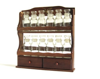 Wooden Spice Rack Cabinet with Glass Spice Jars 1970s Kitchen Wall Hanging