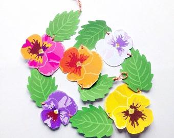 Pansy Flower Chain Garland