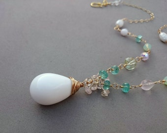 RESERVED Mint Green Necklace - Swarovski Crystal and Morganite Necklace with Apatite, Rose Quartz, Green Amethyst and Gold Fill