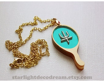 Sailor Neptune Deep Aqua Mirror Talisman Sailor Moon Fanart Acrylic Necklace for Mahou Kei, Magical Girl Fashion