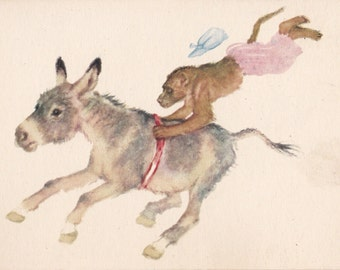 """Postcard Drawing by V. Lebedev """"In the Circus"""" -- 1959. Condition 9/10"""
