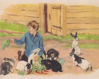 Rare! Postcard Drawing by A. Plastov -- 1946 (!) Condition 8/10