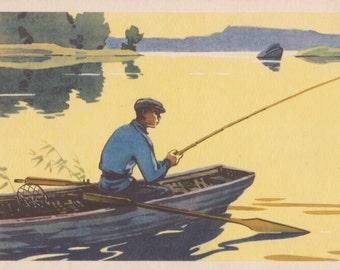 "V. Zvontsov ""Evening biting"" Postcard -- 1958"