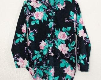 floral hi-lo shirt - M