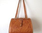Vintage Mexican Bag Hand Tooled Leather Purse Handbag Mahogany Caramel Brown Floral Pattern Large Pocketbook Curved Oval Shape