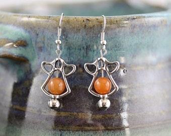 Peach Aventurine Angel Earrings - Item 1769