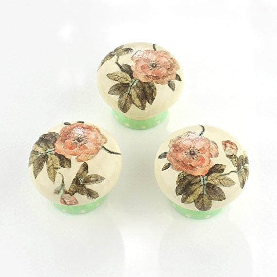 Door Knob, Wooden Drawer Knob, Mint Green Rose Design 45 mm, Cupboard Knob, Shabby Chic Floral Knob, Drawer Pull, Rose Door Knob