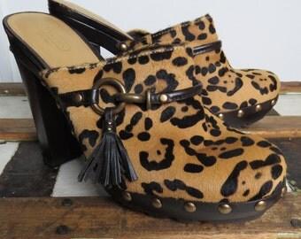 Coach pony hair leopard print platform clog // tassel // boho heels // size 10